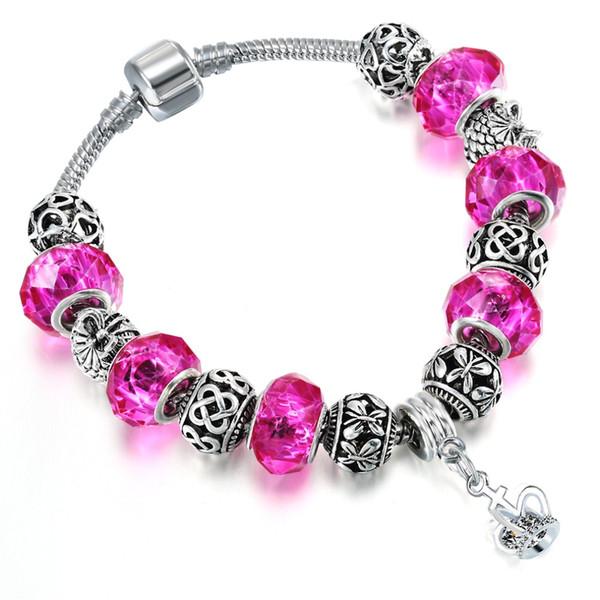 QIMING European Glass Beads Pulseras para mujeres Pink Stone Zircon Crown Charms Fashion Bangles Boho Bracelet DIY Jewelry Gift