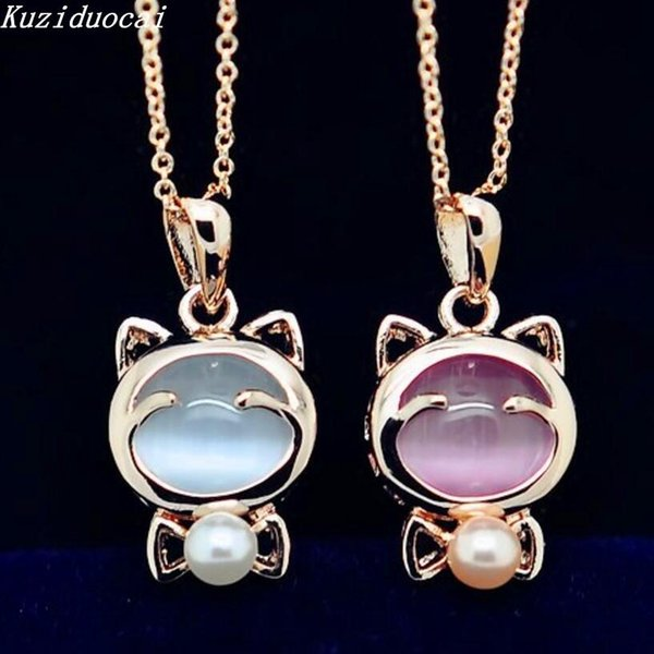 Kuziduocai 2018 New Fashion Fine Jewelry Gold Color Beads Opal Smile Lucky Cat Clavicle Chain Necklaces & Pendants For Women N-3