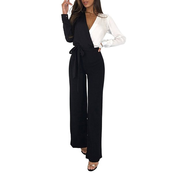 Colorblock Jumpsuits For Women Wide Leg Jumpsuit Full Sleeve Wrap Deep V-neck Long Rompers Office Lady Overalls Jumpsuit Outfits