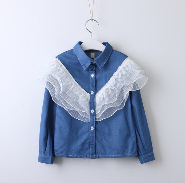 2019 Spring new kids denim shirt girls multilayer lace falbala jean blouse children lapel single breasted long sleeve princess tops F3638