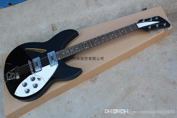 Ücretsiz shippingHOT Yeni varış rickedbacker elektro gitar içi boş küçük rocker siyah renk hediye