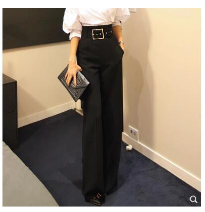 2019 novas mulheres coreano moda com cinto de cintura alta OL trabalho cor preta solta perna larga calças compridas calças plus size S M L XL XXL