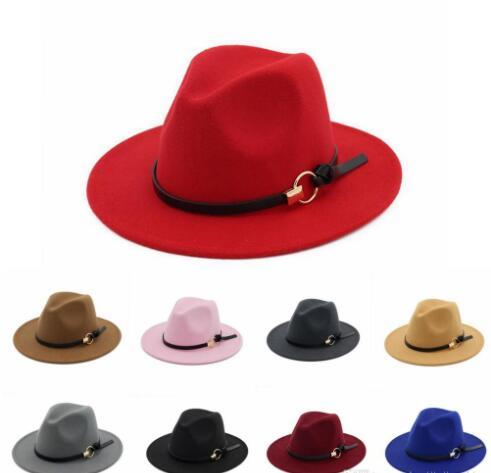 Cappello Fedora Hat in feltro di lana cappelli jazz Church Cap Band Wide Flat Cappelli Jazz a tesa Trilby Panama Cappellini eleganti per Gentleman GGA55