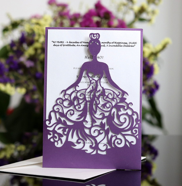 best selling Laser Cut Invitations OEM Support Customized With Girl in Dress Folded Hollow Wedding Party Invitation Cards With Envelopes BW-HK111
