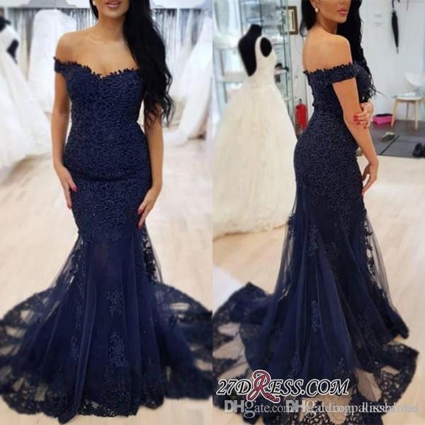 Nuevos azules marinos de sirena vestidos de baile con cuentas fuera del hombro de la cremallera del cordón de coctel formal de los vestidos de noche largo del vestido de partido del vestido de la alfombra roja