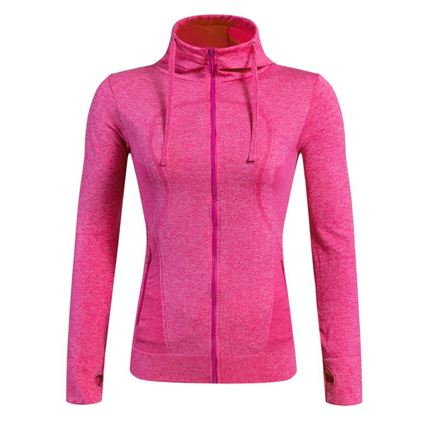 Wholesale-Brand Fitness Yoga Running Jackets Women Gym Wear Long Sleeves Hooded Coat Compression Training Clothing for Sportswear 8001