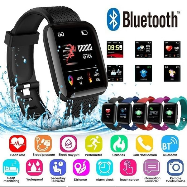 116Plus Smart Bracelet Fitness Tracker Heart Rate Blood Pressure Monitor Sports Smart Band V4.0 IP67 Waterproof For Android IOS Phone