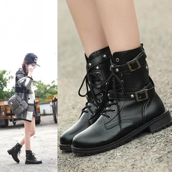 Women Punk Gothic Martin Shoes Short Boot Lace up Belts Round Toe Boots British style Black PU Leather Spring Autumn Cool Girl