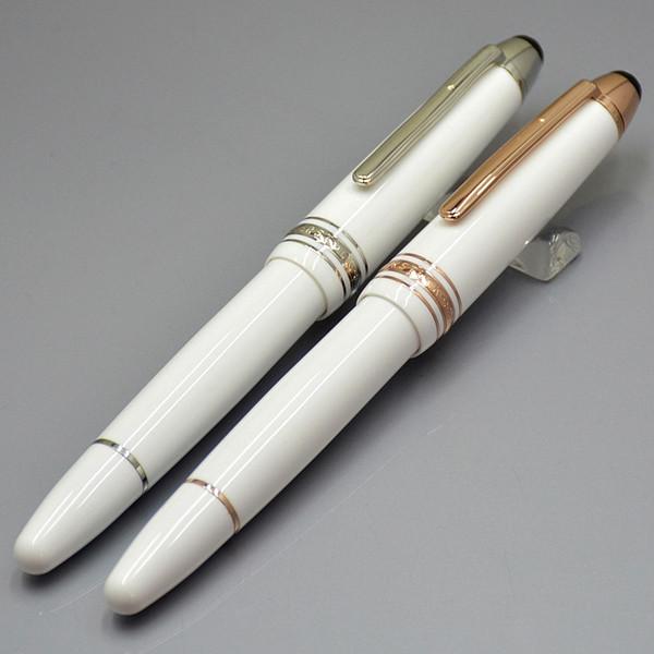 Novo Luxo Meisterstcek 149 Resina Branca Rosa de ouro / Prata Clip Rollerball pen Para Senhora Escrita material de escritório com Número de Série MB Marca