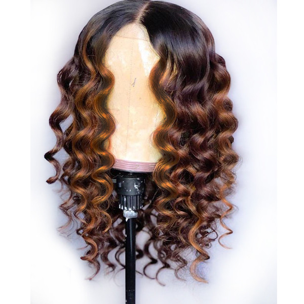 Tam Dantel İnsan Saç Peruk Ombre Iki Ton 1B 30 Gevşek Dalgalı Brezilyalı Bakire Saç 150 Yoğunluk Doğal Saç Çizgisi Tutkalsız Ağartılmış Knot