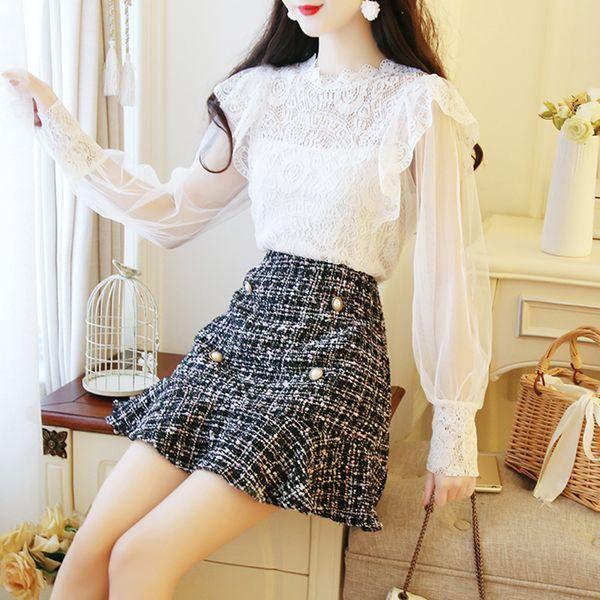 2018 coreano conjunto de 2 piezas mujer encaje blusa mini falda conjunto dos piezas mujeres otoño elegante dos trajes para