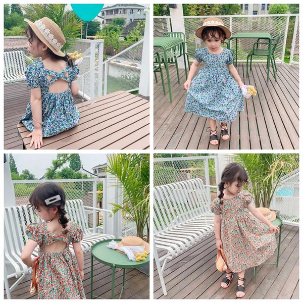 Kids Designer Clothes Girls Floral Dresses Backless Girl Princess Dress Puff Sleeve Enfants Maxi Robes D'été Vêtements Pour Enfants YW3803