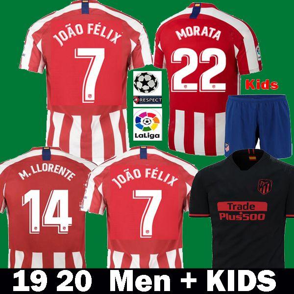 2019 2020 maillot de football JOAO FELIX atletico madrid 19 20 camiseta de football pour enfants M.LLORENTE MORATA SAUL KOKE DIEGO COSTA Maillots de foot