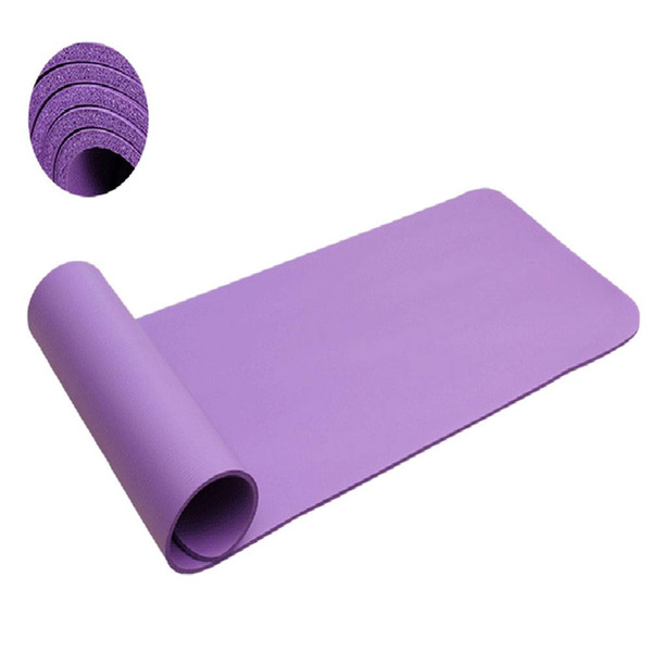 New Purple 8mm NBR yoga mat environmental protection thickening anti-skid body line Gym Pilate fitness US Free shipping
