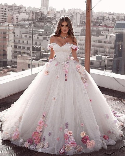 2020 Arabic New Design Ball Gown Wedding Dresses Off Shoulder Lace 3D Floral Appliques Sash Sweep Train Puffy Tulle Open Back Bridal Gowns