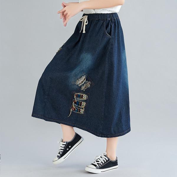 Saias Primavera Verão Mulheres Jupe Femme Buraco Moda Largas Jeans Saia Saia Maxi Étnica Do Vintage Saia Jean menina moir