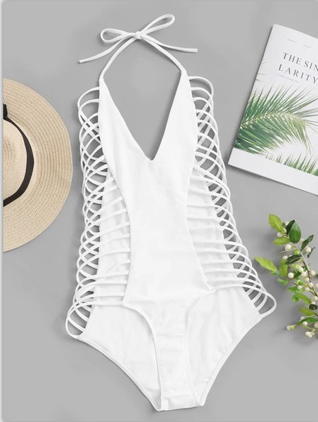2019 Sexy High Cut Bandage Swimsuit Women White Swimwear One Piece Bodysuit Push Up Monokini Halter Swim Wear Bathing Suits Lady Beachwear