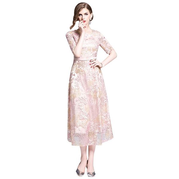 2019 summer high end waist slimming a-line dress heavy mesh embroidery dress