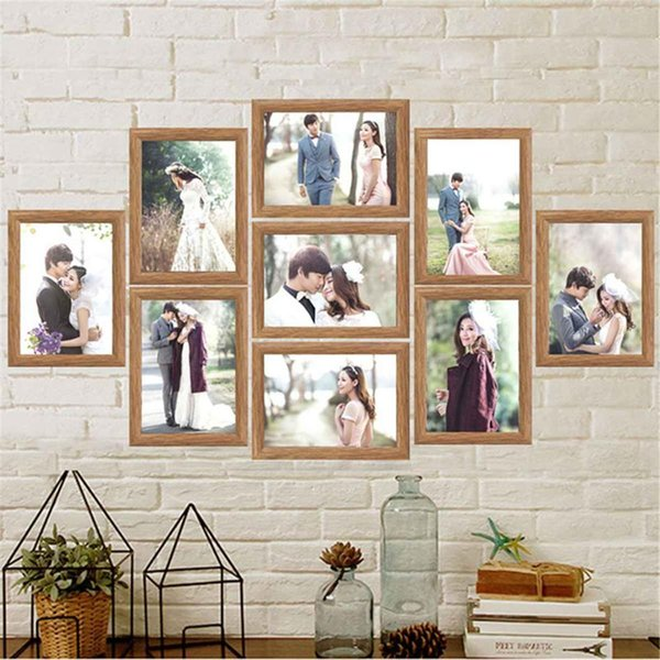9 Pieces Family Vintage Photo Frame Home Decor Art Wooden Wedding Mini Pictures Frames Vintage DIY Family Frame Home Decor