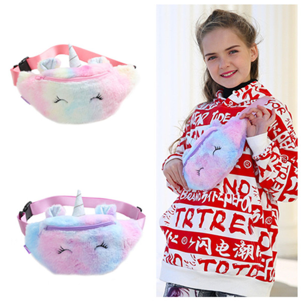 Kid Unicorn Peluş Crossbody çanta Kemer Fanny Paketi Plaj Çantası Öğrenci Genç Cüzdanlar Spor Unisex Spor Outdoor Kozmetik Çanta