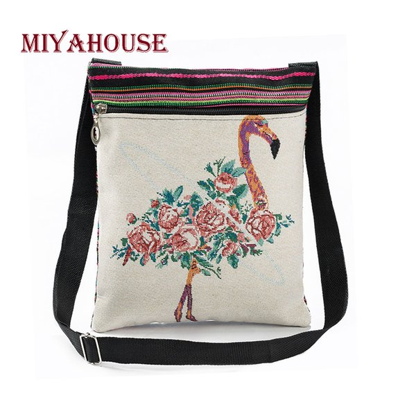 Cheap Fashion Miyahouse Vintage Women Mini Shoulder Bags Cute Flamingo Printed Flap Handbags For Female Canvas Small Messenger Bag