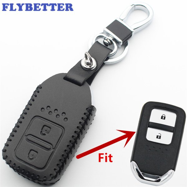 FLYBETTER Genuine Leather 2Button Keyless Entry Smart Key Case Cover For Honda Accord/CRV/Fit/Jazz/Civic Car Styling L400