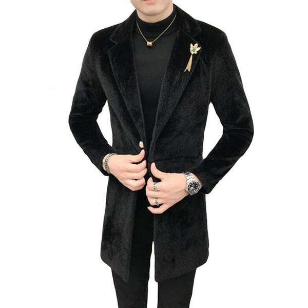 2019 Moda Erkekler kış sıcak tutmak yüksek dereceli Vizon yün Trençkot / Erkek slim Fit erkek slim fit yün blazer ceketler S-XXXL