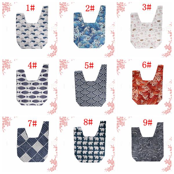 9 styles sac pochette poignet ancien style japonais mini sac à main fourre-tout cadeau cadeau poignet sacs support de téléphone nuage vague sacs à main FFA2892-1