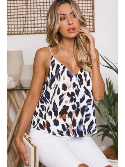 Vestiti delle donne sexy Leopard Stampa top scollo a V Allentato cinghia di spaghetti Hot top Torna scollo a V Estate donna vestiti all'ingrosso 2019