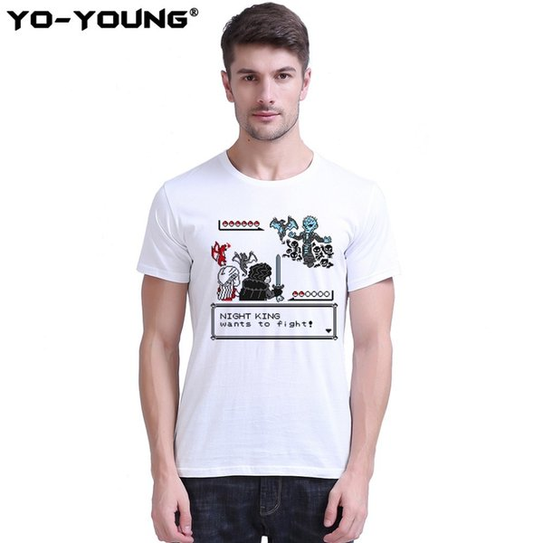 Yo-young Men T-shirts Game Of Thrones Jon Snow House Stark Print 100% 180g Combed Cotton Casual Top Tee Shirts Unisex Customized C19041702