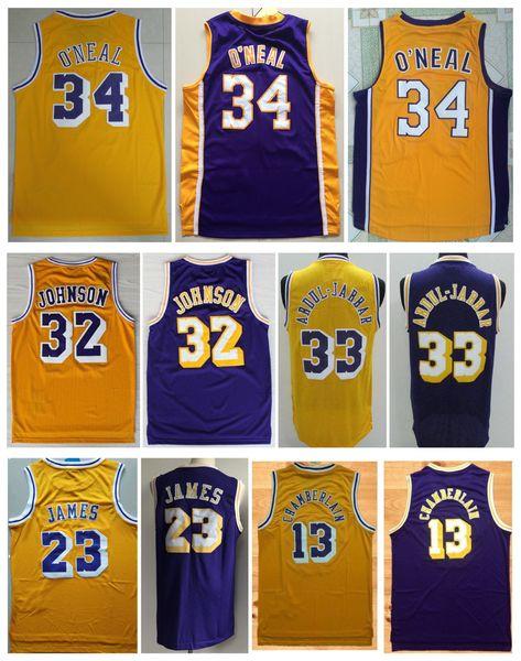 Camiseta NCAA 2019 hombre # 32 Earvin Johnson # 33 Kareem Abdul Jabbar 34 # Shaquille O Neal Jersey de baloncesto cosido Jerseys Talla S-XXL