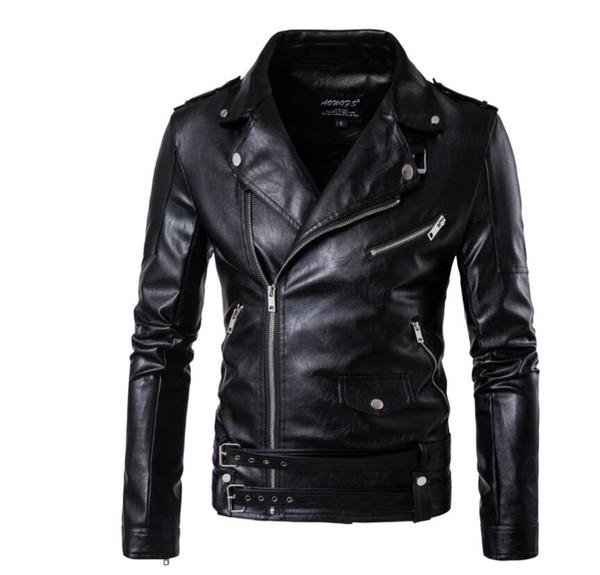 Großhandel Herren Lederjacke Schlank Motorrad Mantel Mann Jacken England Kleidung Personalisierte Street Dance Rock Mode Stehkragen Schwarz Von