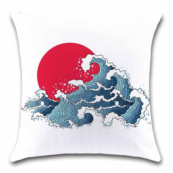Ocean sea style pattern sunrise Marine Cushion Cover Decorative Home sofa shop restaurant chair car seat white pillowcase gift