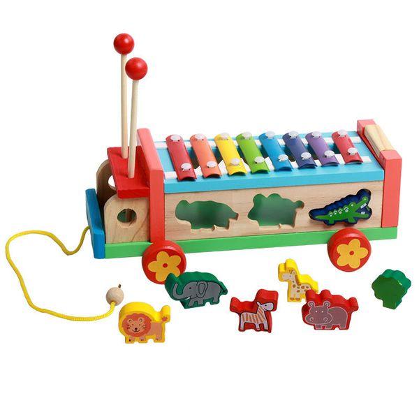 [TOP] Bebek Karikatür serinette Müzik Aletleri Hayvanlar Drag El Piyano Oyuncak Çocuk Erken Eğitim Ahşap Oyuncak çocuklar hediye Knock