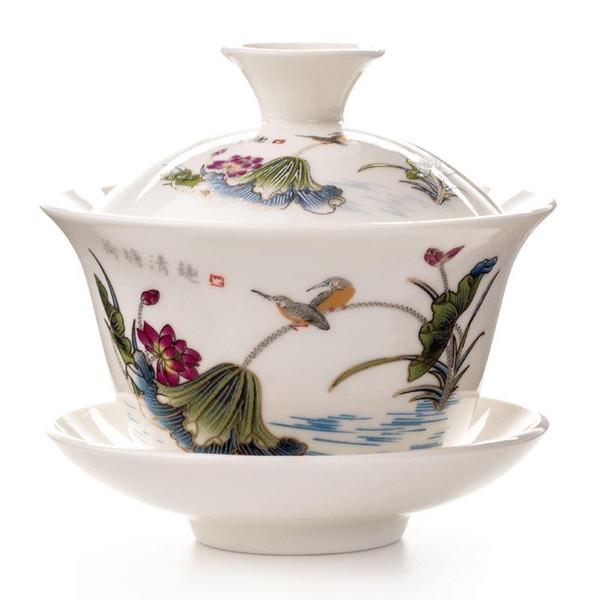 2019 Soupière Teapot Chinois traditionnel Kungfu Tasse en céramique Bol à thé en porcelaine Sancai Coupe thé Sets D002
