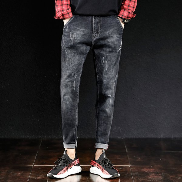 Spring Autumn Stylish Men's Jeans Business Casual Stretch Slim Straight Jeans Denim Pants for Male Skinny Men Jean Trousers