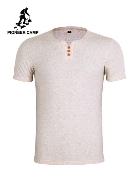 Pionnier Camp Livraison Gratuite Hommes T-shirt En Coton Environnemental Chanvre Casual Respirant T-shirt Solide Mâle Mince Et Manches Courtes Q190518