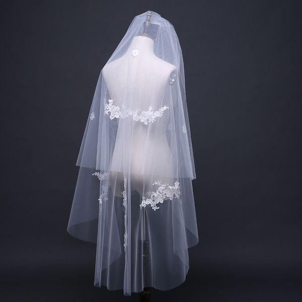 blanc ivoire deux couches de mariage Appliques Veils Longueur de coupe bord Fingertip Tulle voile de la mariée avec peigne Accessoires de mariage