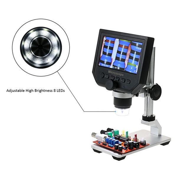 Digital Microscope Portable 3.6MP LCD Electronic Video Microscopes Magnifier for Mobile Phone Maintenance QC/Industrial/Collection Inspectio
