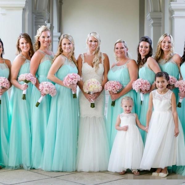2019 mais novo menta verde vestidos de dama de honra plissados ruched sexy halter plus size longo maid of honor vestido de até o chão para a festa de casamento de praia