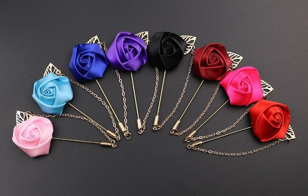 Rose Flower Boutonniere Stick Leaf Brooch Pin with chain Mens Accessories Men Lapel Pin Brooch best gifts
