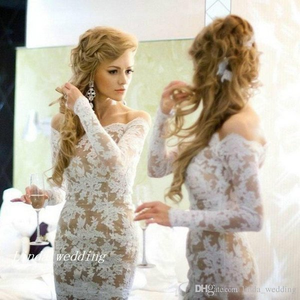 White Lace Prom Dress High Quality Elegant Long Sleeve Off The Shoulder Short Formal Party Gown