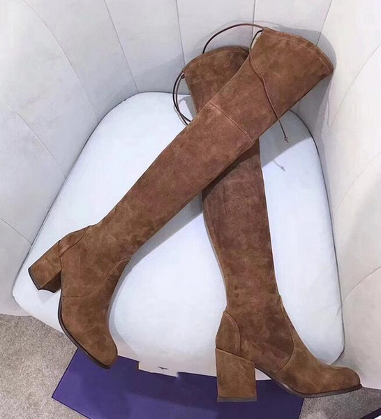 Alta qualidade de couro real sobre as botas no joelho grossas alta elástico inferior para ajudar sapatos baixos SW marrom preto lace-up C03