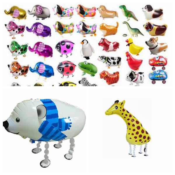 Walking Pet Tier Helium Aluminium Folie Ballon Cartoon Niedlichen Hund Panda Dinosaurier Party Luftballons