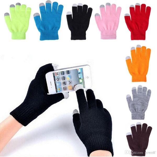 Guantes de alta calidad de 12 colores de invierno Guantes conductivos de pantalla táctil capacitiva para iPhone iPad Mini Samsung Edge Guantes de teléfono móvil