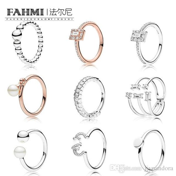 c69ea49f4 FAHMI 100% 925 Sterling Silver Rose Pearl Rings Shards Sparkling Rings  String of Beads Ring