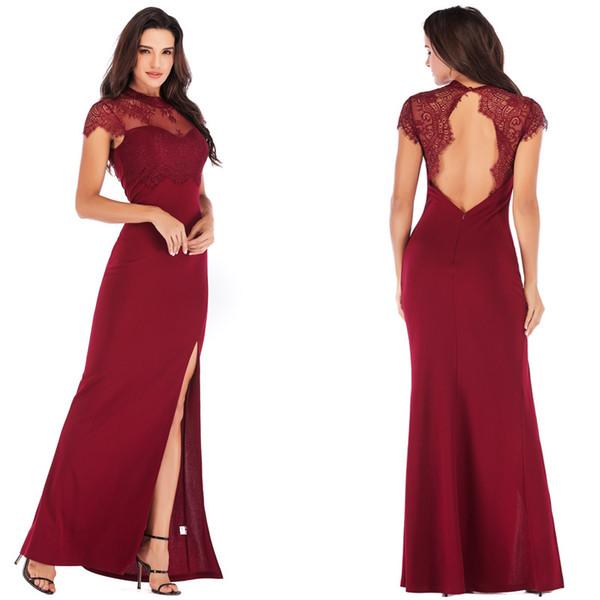 Compre 2019 Nuevo Diseño Vestidos De Fiesta De Boda Vestidos Formales Sin Espalda De Encaje De Mujer Vestidos Formales De Noche Elegantes A 2011 Del