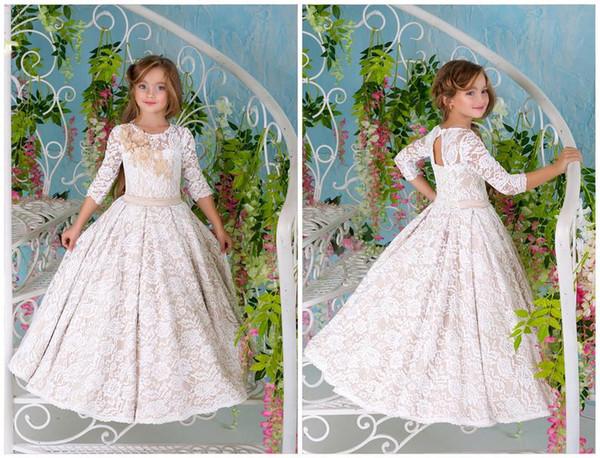 2019 Blumenmädchen Kleid Creme Spitze Guipure Mädchen Kleid Geburtstag Hochzeit Kinder Junior Brautjungfer Ballerina Formal Party Kinder Kleid