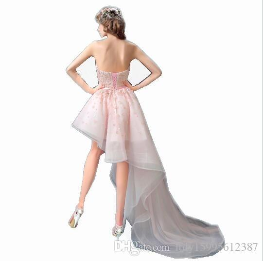 2019 New Evening Dresses Bride Banquet Pink Lace Sweetheart Flowers Short Front Back Long Tail Prom Dress Size Party Gown 509