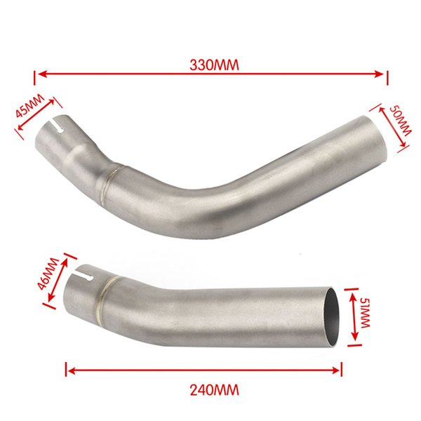 TKOSM 2 pcs Motorcycle Exhaust Mid-Pipe Middle Pipe Link Connect Adapter for Yamaha YZF R1 2009 2010 2011 2012 2013 2014